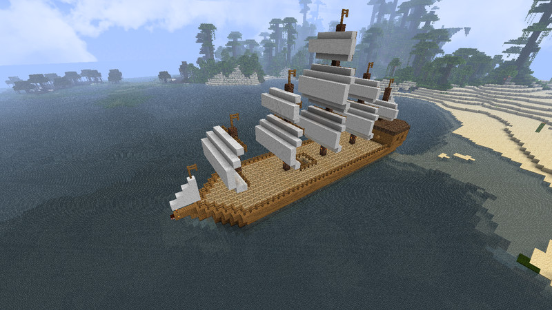 how to make a sailing ship in minecraft
