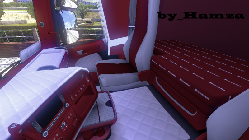 ETS 2: Scania luxury interior red v 1 by Hamza Interieurs Mod f?r ...