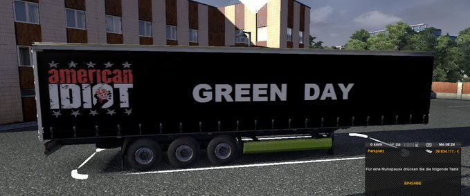Green Day Trailer Skin v 1.3.1 ets2 image