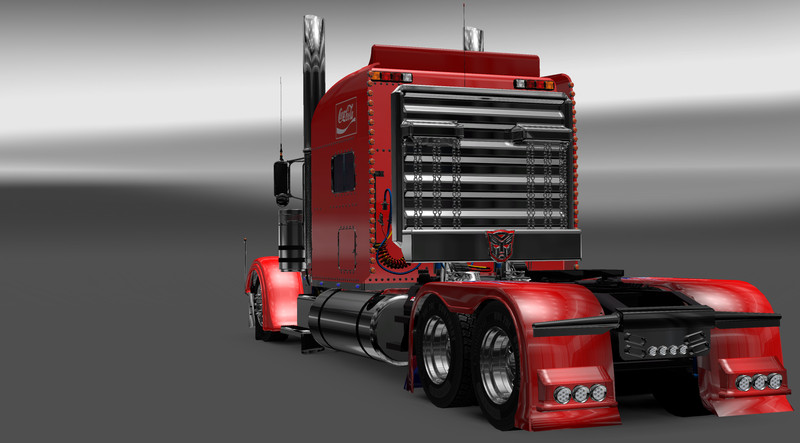 Optimus Prime Peterbilt 389 Xmas on red semi truck