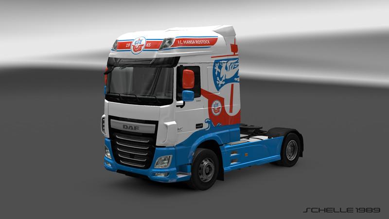 ets 2 daf fc hansa rostock v 1 0 skins mod f r eurotruck simulator 2. Black Bedroom Furniture Sets. Home Design Ideas