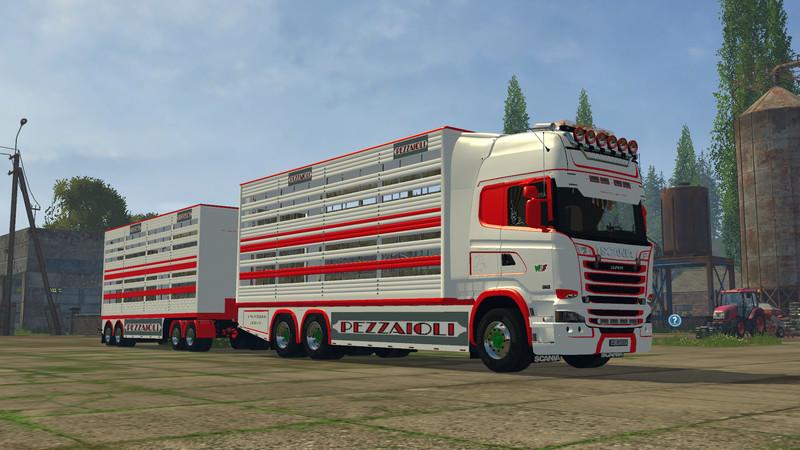 FS 15: Scania R730 animal transports v 1 5 V8 sound Trucks