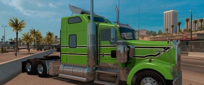 Kenworth-w900-green-black-and-white-stripes