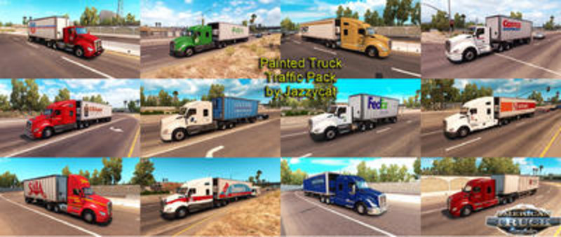 ats: Painted Truck and Trailers Traffic Pack by Jazzycat v