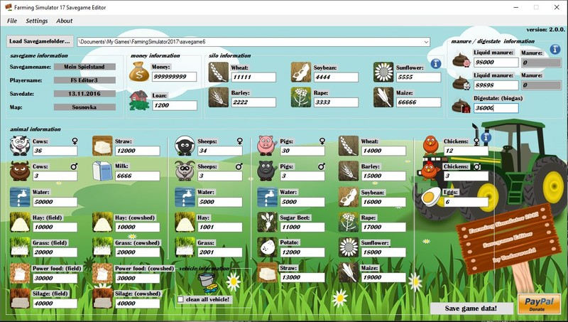 Ls 17 Farming Simulator 2017 Savegame Editor V 200 Tools Mod Für