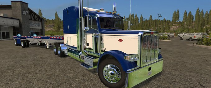 Peterbilt-388-and-manic-flatbed-trailer