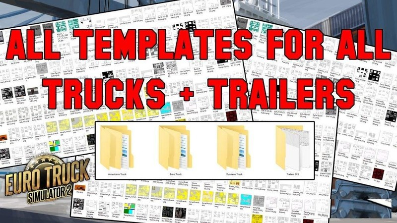 ets 2 all truck trailer templates collection pack 50 template