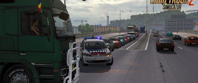 Polizeifahrzeuge-mit-eingeschaltetem-blaulicht-kein-sound