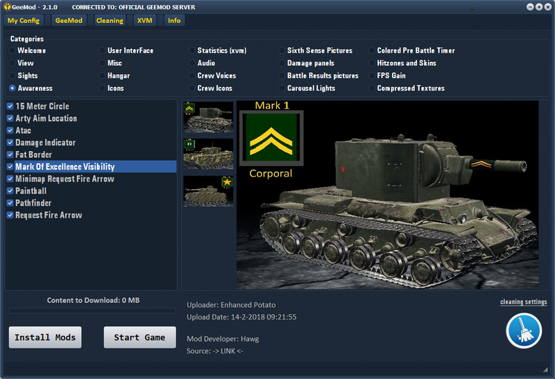 WOT: GeeMod v 2 1 1 Mod Packs Mod für World Of Tanks