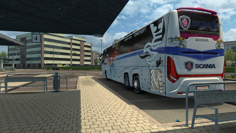 ETS 2: Scania touring bus officially skin and striker v 1 0