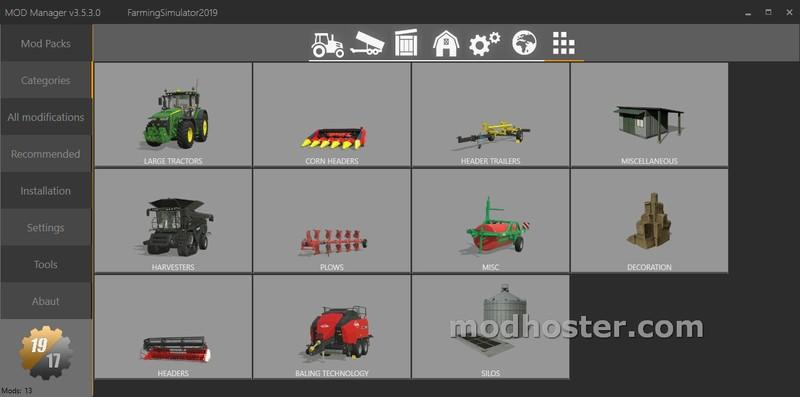 FS 19: Mod Manager FS 19/17 v 3 5 3 Tools Mod für Farming