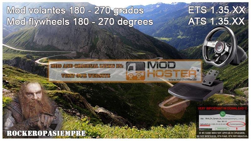 ETS 2: Mod for Steering Wheel of 180-270 Degrees for ETS2 1 35 XX v